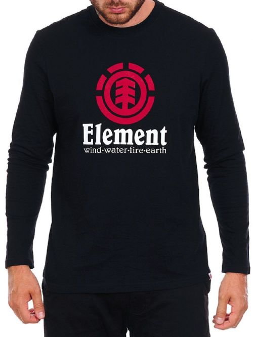 ELEMENT MENS T SHIRT.NEW VERTICAL BLACK COTTON LONG SLEEVED TOP TEE 7W LSA6 3732